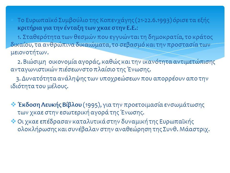  Το Ευρωπαϊκό Συμβούλιο της Κοπενχάγης (21-22.6.1993) όρισε τα εξής κριτήρια για την ένταξη των χκαε στην Ε.Ε.: 1.