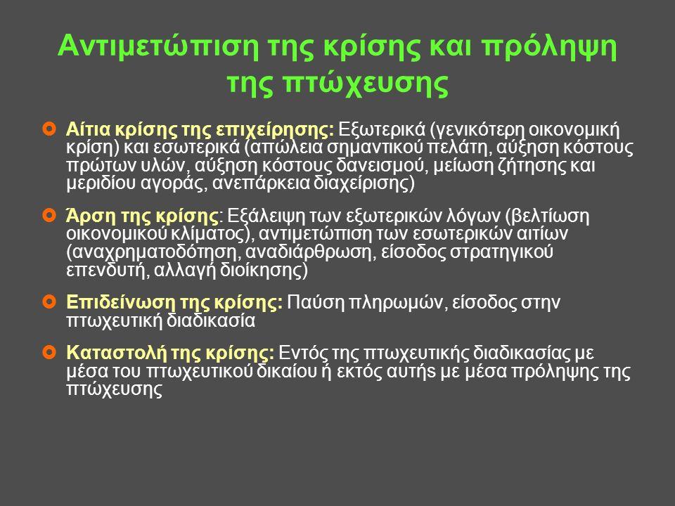Ελληνικός πτωχευτικός κώδικας (ν.3588/2007) Ρυθμίσεις για πρόληψη της πτώχευσης ●Άρθρ.