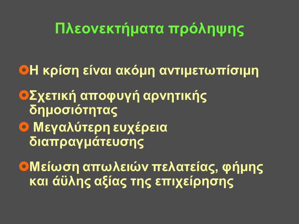 Επιλογές πρόληψης της πτώχευσης  Αδράνεια  Κήρυξη σε πτώχευση λόγω επαπειλούμενης αδυναμίας  Άτυπες διαπραγματεύσεις επιχείρησης και πιστωτών για αναχρηματοδότηση, παράταση, διαγραφή, κεφαλαιοποίηση  Τυπικές διαδικασίες πρόληψης