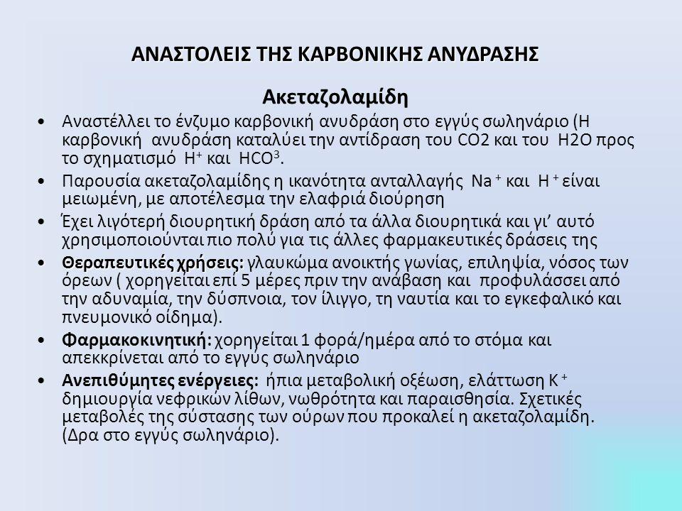 ΑΝΑΣΤΟΛΕΙΣ ΤΗΣ ΚΑΡΒΟΝΙΚΗΣ ΑΝΥΔΡΑΣΗΣ Ακεταζολαμίδη Αναστέλλει το ένζυμο καρβονική ανυδράση στο εγγύς σωληνάριο (Η καρβονική ανυδράση καταλύει την αντίδραση του CO2 και του H2O προς το σχηματισμό H + και HCO 3.