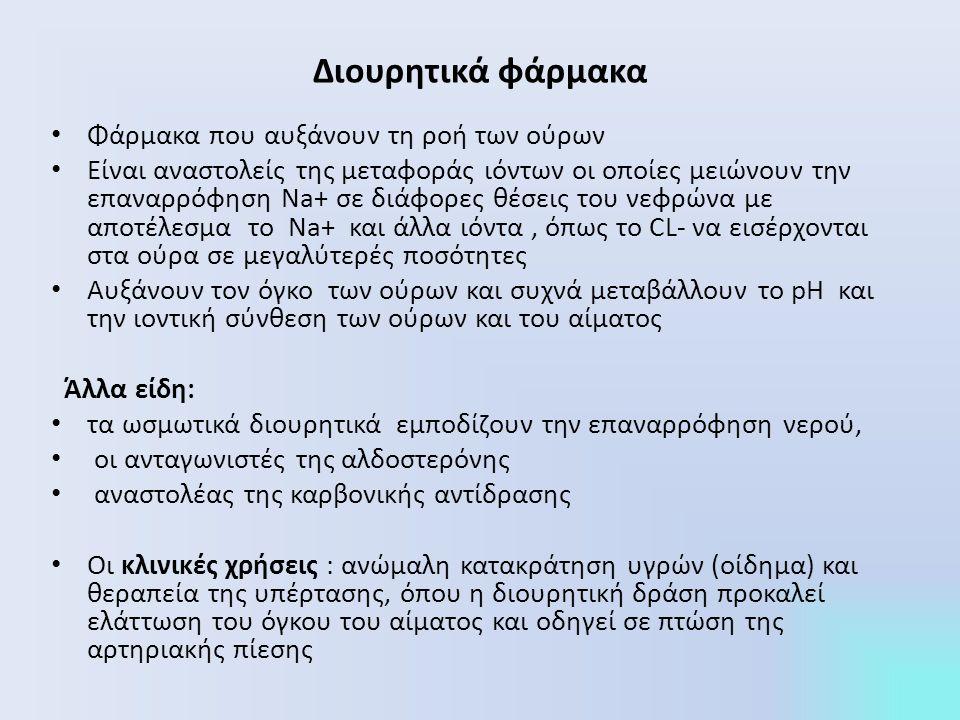 Θεραπευτική χρήση: Θεραπευτική χρήση: υπέρταση (μείωση της συστολικής και διαστολικής πίεσης του αίματος για ασθενείς με ήπια ως μέτρα ιδιοπαθή υπέρταση), συμφορητική καρδιακή ανεπάρκεια (ήπια ως μέτρια), νεφρική δυσλειτουργία, υπερασβεστιουρία (ιδιαίτερα σε ασθενείς με λίθους από οξαλικό ασβέστιο στην ουροφόρο οδό), άπιος διαβήτης Ανεπιθύμητες ενέργειες: Ανεπιθύμητες ενέργειες: απώλεια καλίου, υπερουριχαιμία (αύξηση του ουρικού οξέος του ορού), υποογκαιμία => ορθοστατική υπόταση ή ζάλη, υπερασβεσταιμία (αναστέλλουν την έκκριση Ca), υπεργλυκαιμία, υπερευαισθησία, καρδιακές αρρυθμίες
