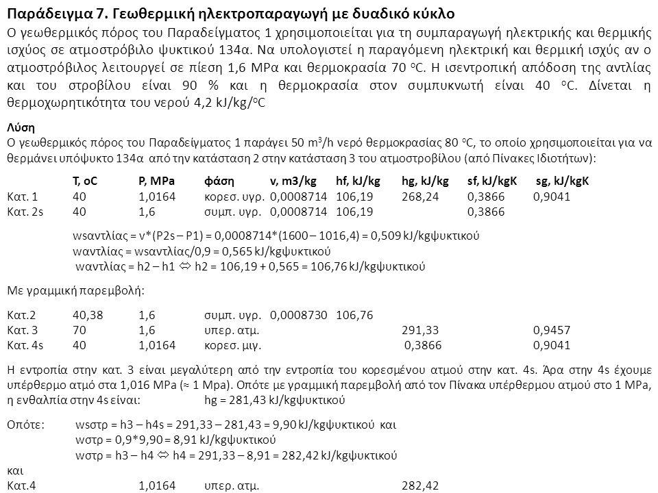 Παράδειγμα 7. Γεωθερμική ηλεκτροπαραγωγή με δυαδικό κύκλο Ο γεωθερμικός πόρος του Παραδείγματος 1 χρησιμοποιείται για τη συμπαραγωγή ηλεκτρικής και θε
