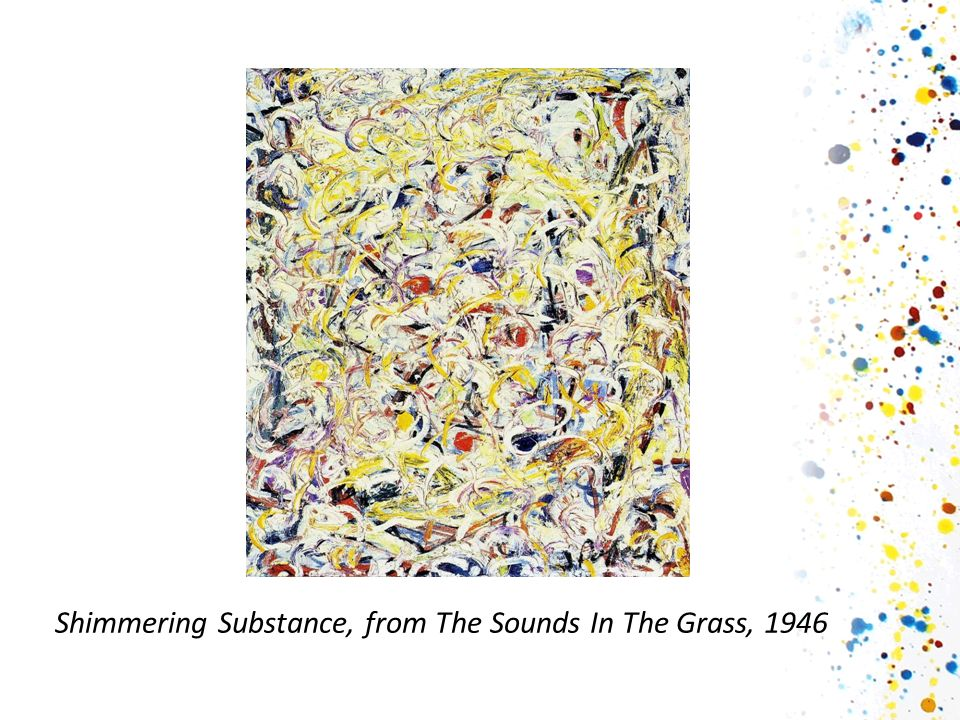 Στη συνέχεια έδειξα στα παιδιά την φωτογραφία του Jackson Pollock λέγοντάς τους πως αυτός είναι ο ζωγράφος που έχει ζωγραφίσει αυτούς τους πίνακες, και πως εδώ τον βλέπουμε να ζωγραφίζει έναν από αυτούς.