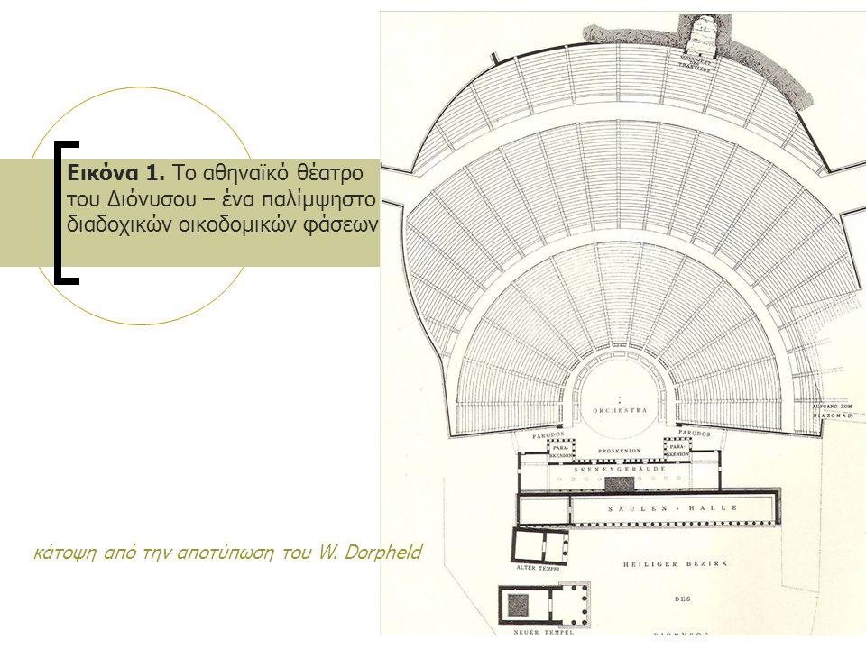 Εικόνα 1. Το αθηναϊκό θέατρο του Διόνυσου – ένα παλίμψηστο διαδοχικών οικοδομικών φάσεων κάτοψη από την αποτύπωση του W. Dorpheld