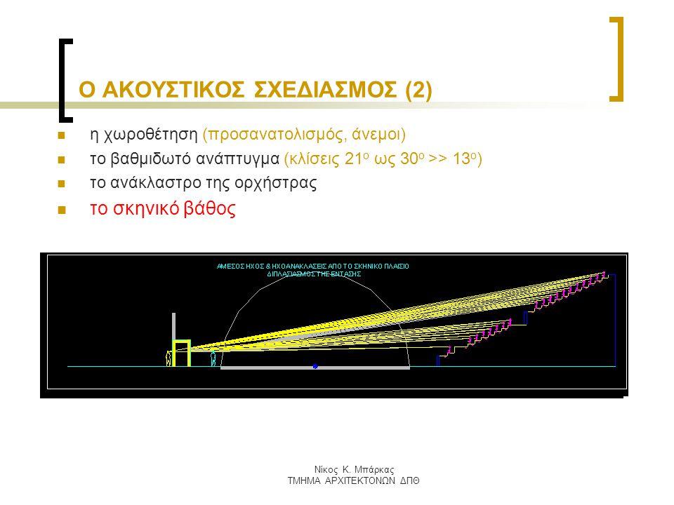 Nίκος Κ. Μπάρκας ΤΜΗΜΑ ΑΡΧΙΤΕΚΤΟΝΩΝ ΔΠΘ Ο ΑΚΟΥΣΤΙΚΟΣ ΣΧΕΔΙΑΣΜΟΣ (2) η χωροθέτηση (προσανατολισμός, άνεμοι) το βαθμιδωτό ανάπτυγμα (κλίσεις 21 ο ως 30