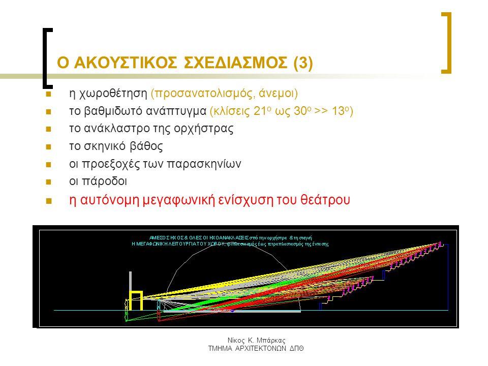 Nίκος Κ. Μπάρκας ΤΜΗΜΑ ΑΡΧΙΤΕΚΤΟΝΩΝ ΔΠΘ Ο ΑΚΟΥΣΤΙΚΟΣ ΣΧΕΔΙΑΣΜΟΣ (3) η χωροθέτηση (προσανατολισμός, άνεμοι) το βαθμιδωτό ανάπτυγμα (κλίσεις 21 ο ως 30