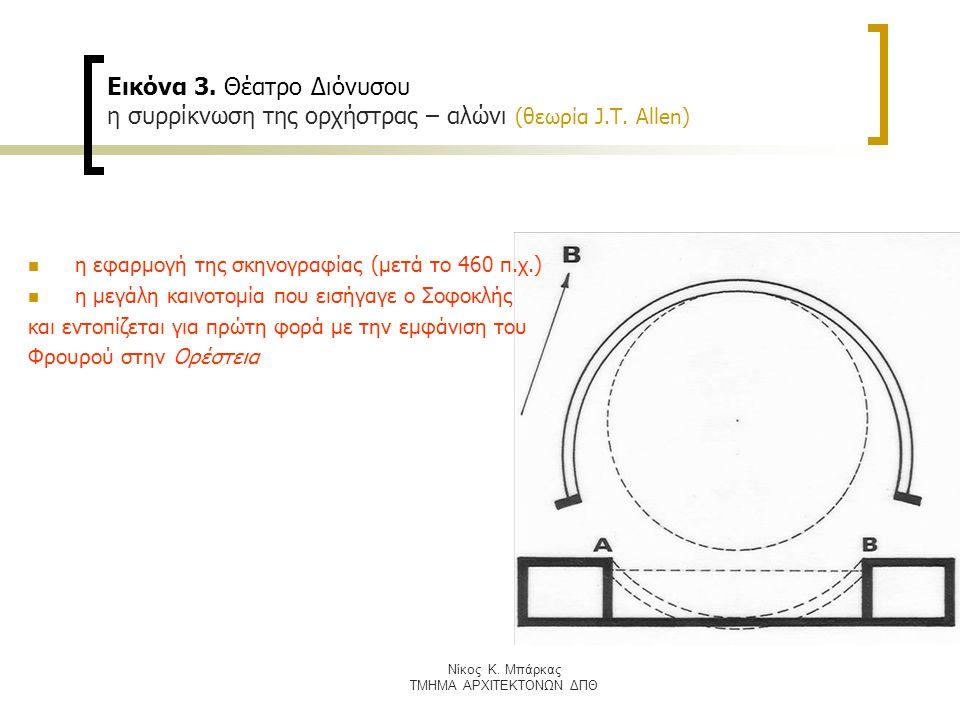 Εικόνα 4.Θέατρο Διόνυσου, σε τομή οι διαδοχικές μετατοπίσεις της ορχήστρας προς το κοίλο (Χ.