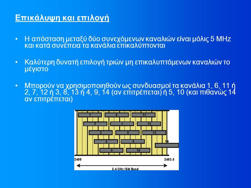 Επικάλυψη και επιλογή Η απόσταση μεταξύ δύο συνεχόμενων καναλιών είναι μόλις 5 MHz και κατά συνέπεια τα κανάλια επικαλύπτονται Καλύτερη δυνατή επιλογή τριών μη επικαλυπτόμενων καναλιών το μέγιστο Μπορούν να χρησιμοποιηθούν ως συνδυασμοί τα κανάλια 1, 6, 11 ή 2, 7, 12 ή 3, 8, 13 ή 4, 9, 14 (αν επιτρέπεται) ή 5, 10 (και πιθανώς 14 αν επιτρέπεται)