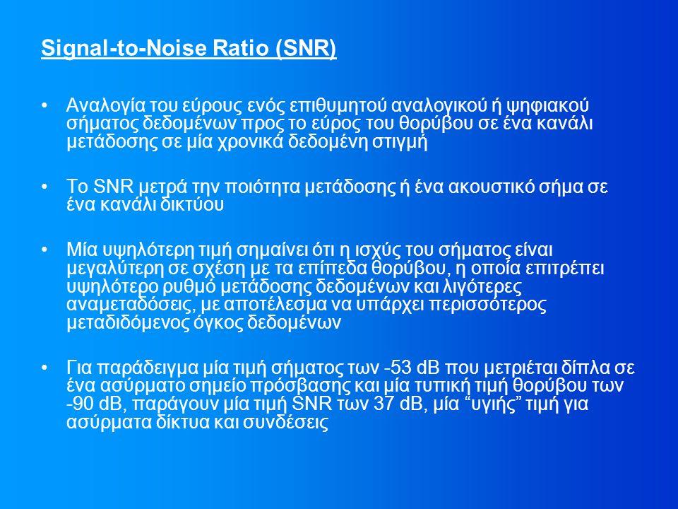Signal-to-Noise Ratio (SNR) Αναλογία του εύρους ενός επιθυμητού αναλογικού ή ψηφιακού σήματος δεδομένων προς το εύρος του θορύβου σε ένα κανάλι μετάδοσης σε μία χρονικά δεδομένη στιγμή Το SNR μετρά την ποιότητα μετάδοσης ή ένα ακουστικό σήμα σε ένα κανάλι δικτύου Μία υψηλότερη τιμή σημαίνει ότι η ισχύς του σήματος είναι μεγαλύτερη σε σχέση με τα επίπεδα θορύβου, η οποία επιτρέπει υψηλότερο ρυθμό μετάδοσης δεδομένων και λιγότερες αναμεταδόσεις, με αποτέλεσμα να υπάρχει περισσότερος μεταδιδόμενος όγκος δεδομένων Για παράδειγμα μία τιμή σήματος των -53 dB που μετριέται δίπλα σε ένα ασύρματο σημείο πρόσβασης και μία τυπική τιμή θορύβου των -90 dB, παράγουν μία τιμή SNR των 37 dB, μία υγιής τιμή για ασύρματα δίκτυα και συνδέσεις