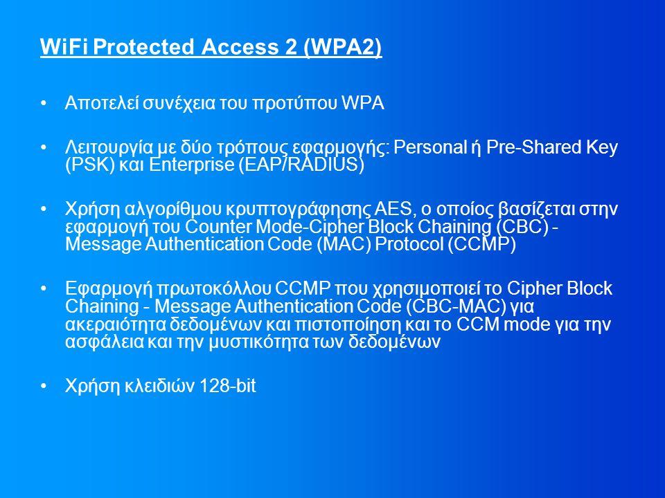 WiFi Protected Access 2 (WPA2) Αποτελεί συνέχεια του προτύπου WPA Λειτουργία με δύο τρόπους εφαρμογής: Personal ή Pre-Shared Key (PSK) και Enterprise (EAP/RADIUS) Χρήση αλγορίθμου κρυπτογράφησης AES, ο οποίος βασίζεται στην εφαρμογή του Counter Mode-Cipher Block Chaining (CBC) - Message Authentication Code (MAC) Protocol (CCMP) Εφαρμογή πρωτοκόλλου CCMP που χρησιμοποιεί το Cipher Block Chaining - Message Authentication Code (CBC-MAC) για ακεραιότητα δεδομένων και πιστοποίηση και το CCM mode για την ασφάλεια και την μυστικότητα των δεδομένων Χρήση κλειδιών 128-bit