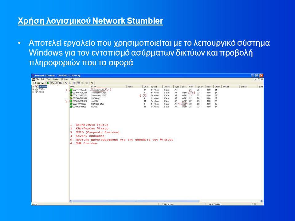 Χρήση λογισμικού Network Stumbler Αποτελεί εργαλείο που χρησιμοποιείται με το λειτουργικό σύστημα Windows για τον εντοπισμό ασύρματων δικτύων και προβολή πληροφοριών που τα αφορά