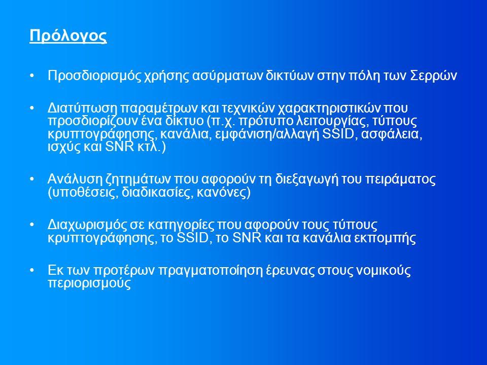 Πρόλογος Προσδιορισμός χρήσης ασύρματων δικτύων στην πόλη των Σερρών Διατύπωση παραμέτρων και τεχνικών χαρακτηριστικών που προσδιορίζουν ένα δίκτυο (π.χ.