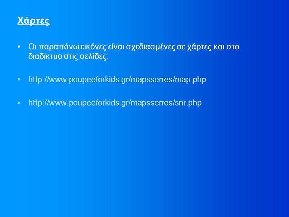 Χάρτες Οι παραπάνω εικόνες είναι σχεδιασμένες σε χάρτες και στο διαδίκτυο στις σελίδες: http://www.poupeeforkids.gr/mapsserres/map.php http://www.poupeeforkids.gr/mapsserres/snr.php