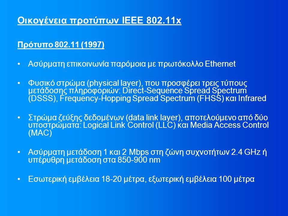Οικογένεια προτύπων IEEE 802.11x Πρότυπο 802.11 (1997) Ασύρματη επικοινωνία παρόμοια με πρωτόκολλο Ethernet Φυσικό στρώμα (physical layer), που προσφέρει τρεις τύπους μετάδοσης πληροφοριών: Direct-Sequence Spread Spectrum (DSSS), Frequency-Hopping Spread Spectrum (FHSS) και Infrared Στρώμα ζεύξης δεδομένων (data link layer), αποτελούμενο από δύο υποστρώματα: Logical Link Control (LLC) και Media Access Control (MAC) Ασύρματη μετάδοση 1 και 2 Mbps στη ζώνη συχνοτήτων 2.4 GHz ή υπέρυθρη μετάδοση στα 850-900 nm Εσωτερική εμβέλεια 18-20 μέτρα, εξωτερική εμβέλεια 100 μέτρα
