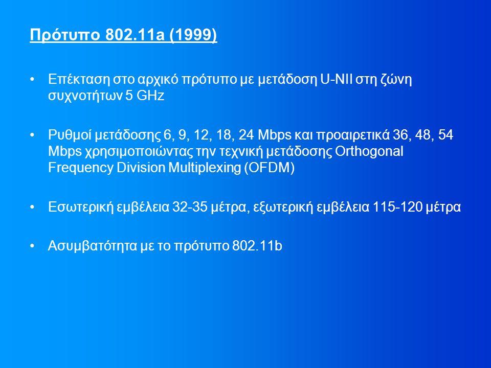 Πρότυπο 802.11a (1999) Επέκταση στο αρχικό πρότυπο με μετάδοση U-NII στη ζώνη συχνοτήτων 5 GΗz Ρυθμοί μετάδοσης 6, 9, 12, 18, 24 Mbps και προαιρετικά 36, 48, 54 Mbps χρησιμοποιώντας την τεχνική μετάδοσης Orthogonal Frequency Division Multiplexing (OFDM) Εσωτερική εμβέλεια 32-35 μέτρα, εξωτερική εμβέλεια 115-120 μέτρα Ασυμβατότητα με το πρότυπο 802.11b