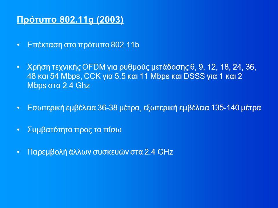 Πρότυπο 802.11g (2003) Επέκταση στο πρότυπο 802.11b Χρήση τεχνικής OFDM για ρυθμούς μετάδοσης 6, 9, 12, 18, 24, 36, 48 και 54 Mbps, CCK για 5.5 και 11 Mbps και DSSS για 1 και 2 Mbps στα 2.4 Ghz Εσωτερική εμβέλεια 36-38 μέτρα, εξωτερική εμβέλεια 135-140 μέτρα Συμβατότητα προς τα πίσω Παρεμβολή άλλων συσκευών στα 2.4 GHz