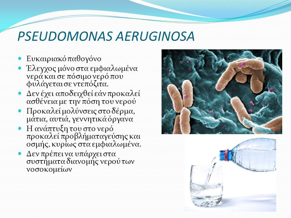 PSEUDOMONAS AERUGINOSA Ευκαιριακό παθογόνο Έλεγχος μόνο στα εμφιαλωμένα νερά και σε πόσιμο νερό που φυλάγεται σε ντεπόζιτα. Δεν έχει αποδειχθεί εάν πρ