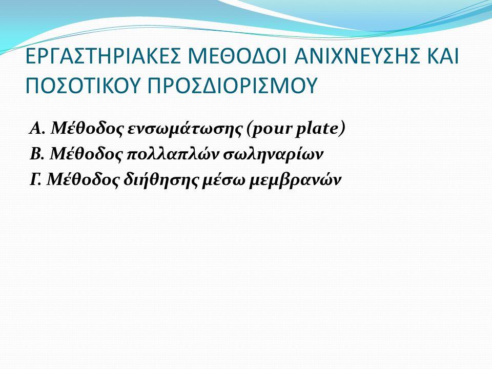 ΕΡΓΑΣΤΗΡΙΑΚΕΣ ΜΕΘΟΔΟΙ ΑΝΙΧΝΕΥΣΗΣ ΚΑΙ ΠΟΣΟΤΙΚΟΥ ΠΡΟΣΔΙΟΡΙΣΜΟΥ A. Μέθοδος ενσωμάτωσης (pour plate) B. Μέθοδος πολλαπλών σωληναρίων Γ. Μέθοδος διήθησης μ