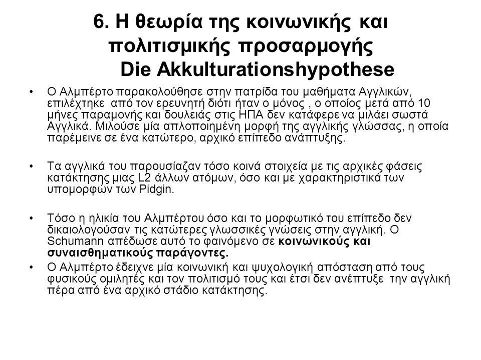 6. Η θεωρία της κοινωνικής και πολιτισμικής προσαρμογής Die Akkulturationshypothese Ο Αλμπέρτο παρακολούθησε στην πατρίδα του μαθήματα Αγγλικών, επιλέ