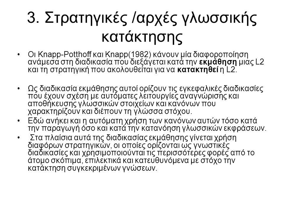 3. Στρατηγικές /αρχές γλωσσικής κατάκτησης Οι Knapp-Potthoff και Knapp(1982) κάνουν μία διαφοροποίηση ανάμεσα στη διαδικασία που διεξάγεται κατά την ε