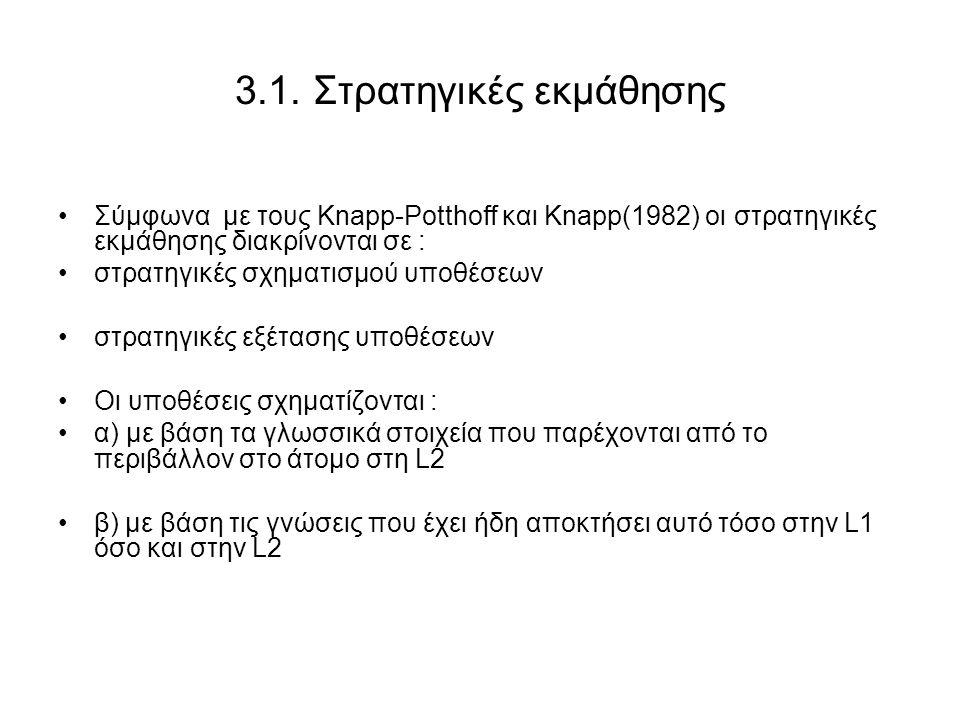 3.1. Στρατηγικές εκμάθησης Σύμφωνα με τους Knapp-Potthoff και Knapp(1982) οι στρατηγικές εκμάθησης διακρίνονται σε : στρατηγικές σχηματισμού υποθέσεων