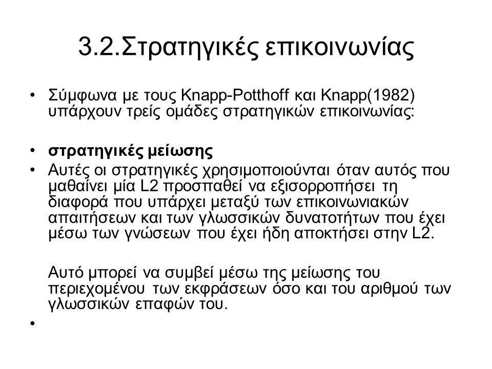 3.2.Στρατηγικές επικοινωνίας Σύμφωνα με τους Knapp-Potthoff και Knapp(1982) υπάρχουν τρείς ομάδες στρατηγικών επικοινωνίας: στρατηγικές μείωσης Αυτές