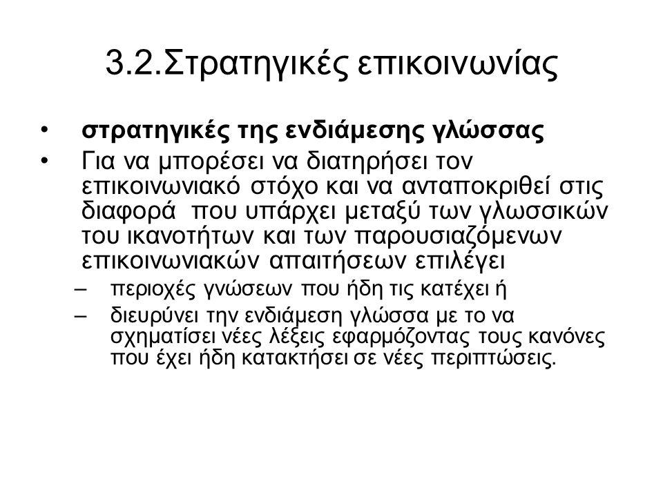 3.2.Στρατηγικές επικοινωνίας στρατηγικές της ενδιάμεσης γλώσσας Για να μπορέσει να διατηρήσει τον επικοινωνιακό στόχο και να ανταποκριθεί στις διαφορά