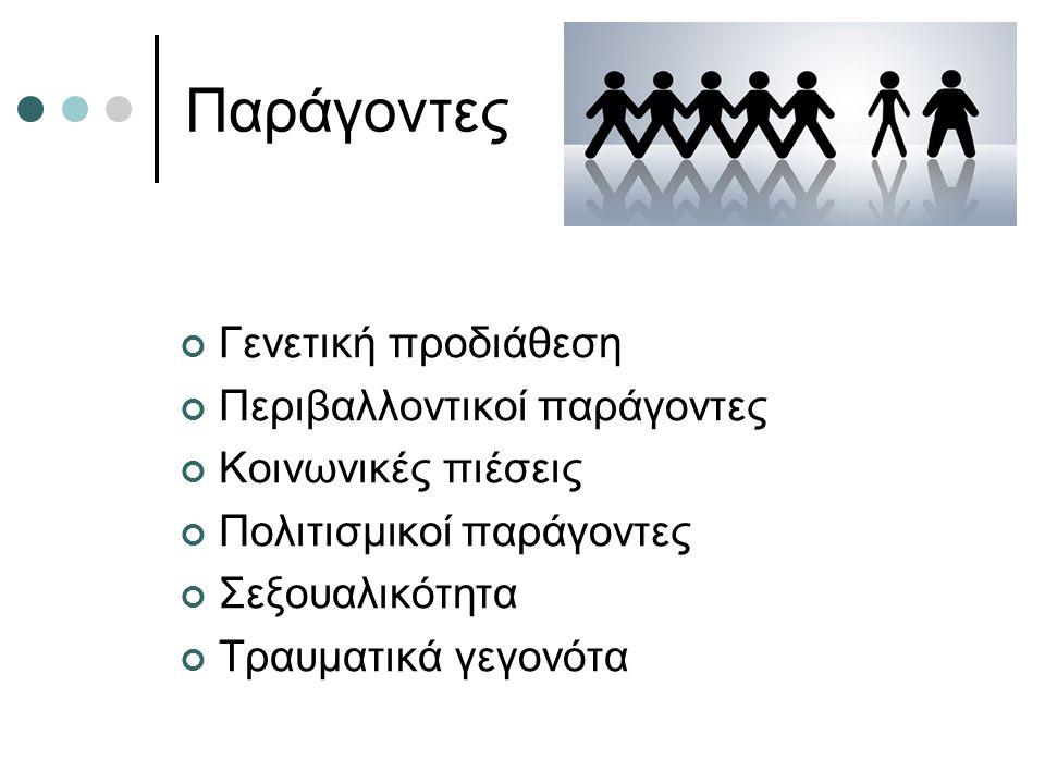 Παράγοντες Γενετική προδιάθεση Περιβαλλοντικοί παράγοντες Κοινωνικές πιέσεις Πολιτισμικοί παράγοντες Σεξουαλικότητα Τραυματικά γεγονότα