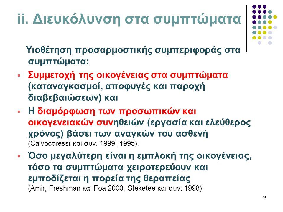 34 ii. Διευκόλυνση στα συμπτώματα Υιοθέτηση προσαρμοστικής συμπεριφοράς στα συμπτώματα:  Συμμετοχή της οικογένειας στα συμπτώματα (καταναγκασμοί, απο