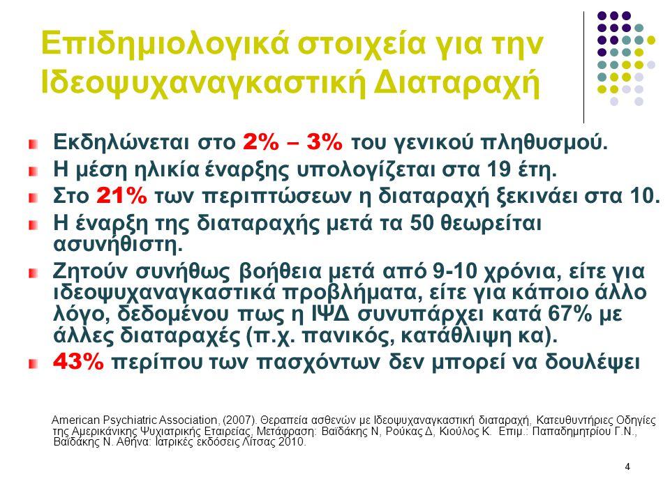 75 Κλίμακα βαρύτητας – Y-BOCS Y-BOCS1η επίσκεψη 6η επίσκεψ η 12η επίσκεψ η 18η επίσκεψη Ιδεοληψίες 15/2012/207/204/20 Καταναγκα σμοί 14/2010/206/203/20 ΣΥΝΟΛΟ29/4022/4013/407/40