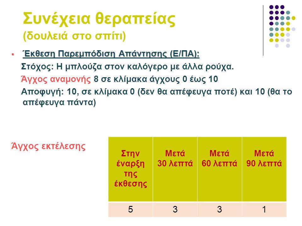 69 Συνέχεια θεραπείας (δουλειά στο σπίτι)  Έκθεση Παρεμπόδιση Απάντησης (Ε/ΠΑ): Στόχος: Η μπλούζα στον καλόγερο με άλλα ρούχα. Άγχος αναμονής 8 σε κλ