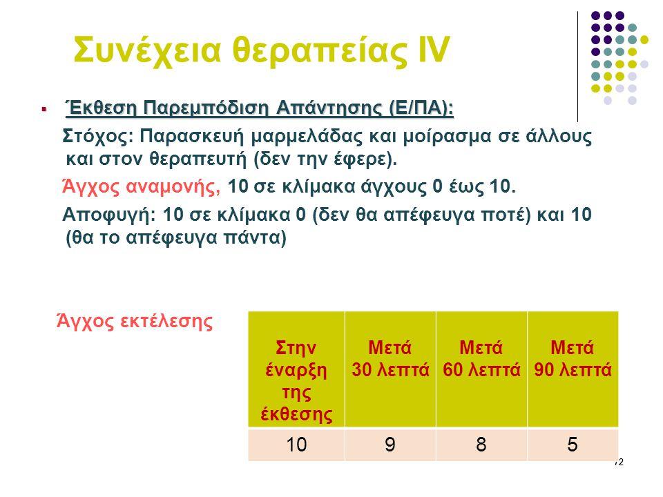 72 Συνέχεια θεραπείας IV  Έκθεση Παρεμπόδιση Απάντησης (Ε/ΠΑ): Στόχος: Παρασκευή μαρμελάδας και μοίρασμα σε άλλους και στον θεραπευτή (δεν την έφερε)