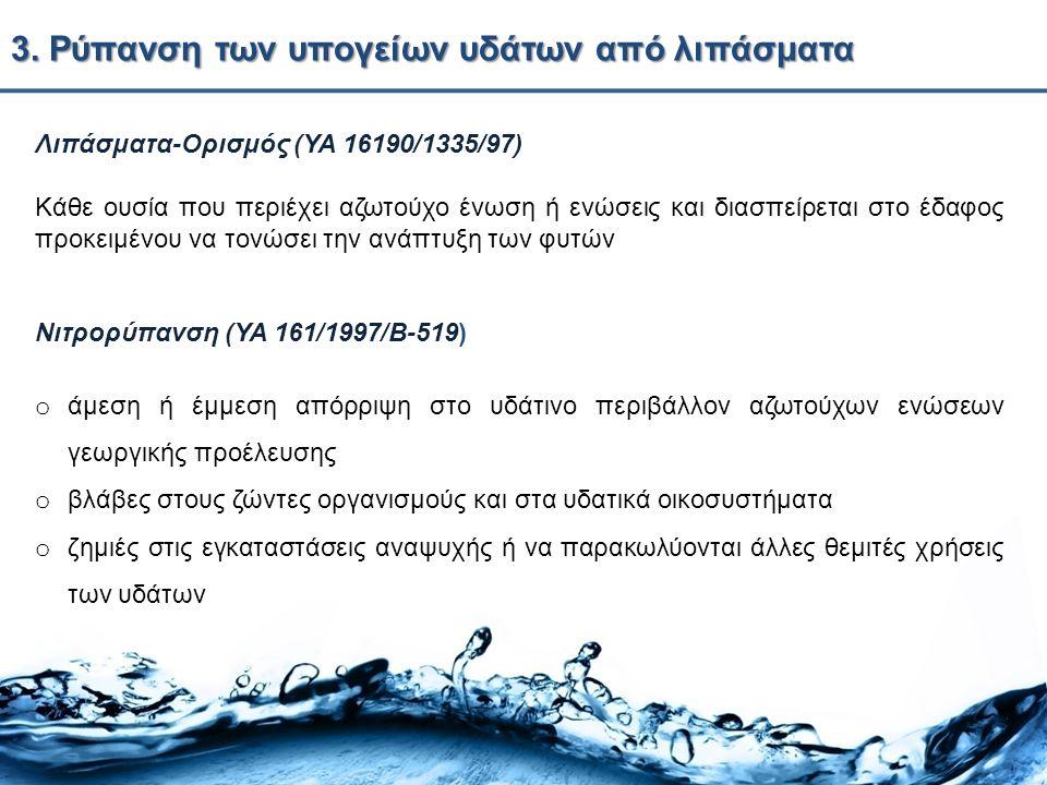 3. Ρύπανση των υπογείων υδάτων από λιπάσματα Λιπάσματα-Ορισμός (ΥΑ 16190/1335/97) Κάθε ουσία που περιέχει αζωτούχο ένωση ή ενώσεις και διασπείρεται στ
