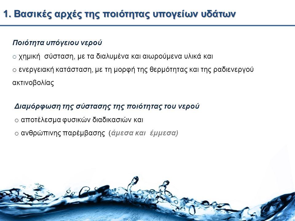 1. Βασικές αρχές της ποιότητας υπογείων υδάτων Ποιότητα υπόγειου νερού o χημική σύσταση, με τα διαλυμένα και αιωρούμενα υλικά και o ενεργειακή κατάστα