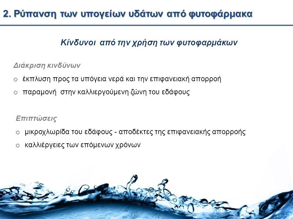 2. Ρύπανση των υπογείων υδάτων από φυτοφάρμακα Κίνδυνοι από την χρήση των φυτοφαρμάκων Επιπτώσεις o μικροχλωρίδα του εδάφους - αποδέκτες της επιφανεια