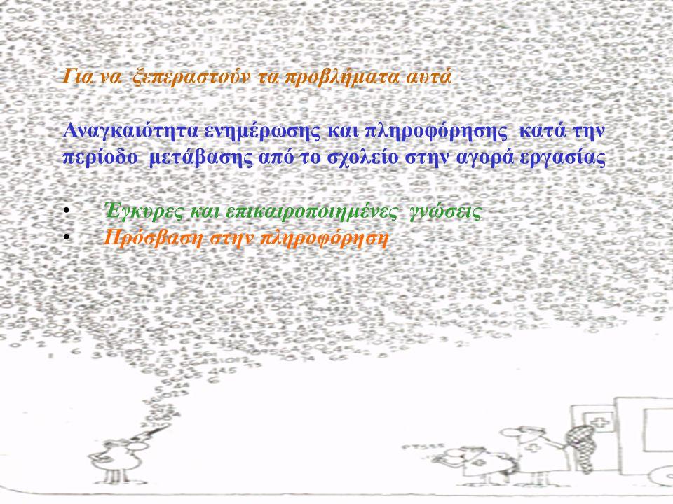 Για να ξεπεραστούν τα προβλήματα αυτά Αναγκαιότητα ενημέρωσης και πληροφόρησης κατά την περίοδο μετάβασης από το σχολείο στην αγορά εργασίας Έγκυρες κ