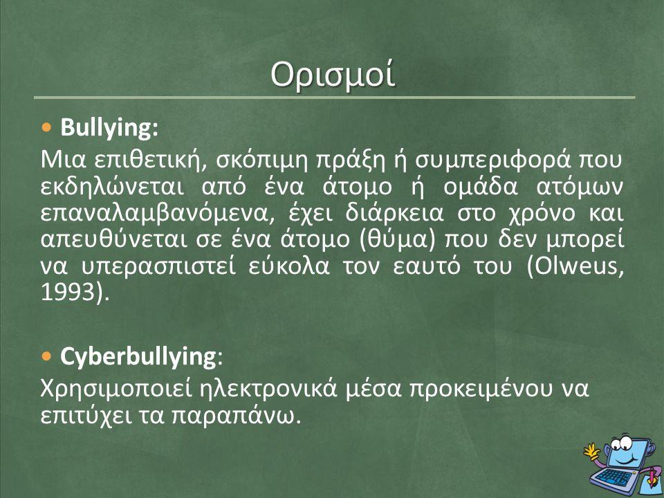 Bullying: Μια επιθετική, σκόπιμη πράξη ή συμπεριφορά που εκδηλώνεται από ένα άτομο ή ομάδα ατόμων επαναλαμβανόμενα, έχει διάρκεια στο χρόνο και απευθύνεται σε ένα άτομο (θύμα) που δεν μπορεί να υπερασπιστεί εύκολα τον εαυτό του (Olweus, 1993).