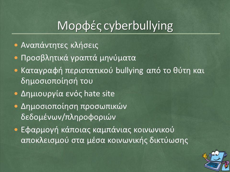 Αναπάντητες κλήσεις Προσβλητικά γραπτά μηνύματα Καταγραφή περιστατικού bullying από το θύτη και δημοσιοποίησή του Δημιουργία ενός hate site Δημοσιοποίηση προσωπικών δεδομένων/πληροφοριών Εφαρμογή κάποιας καμπάνιας κοινωνικού αποκλεισμού στα μέσα κοινωνικής δικτύωσης
