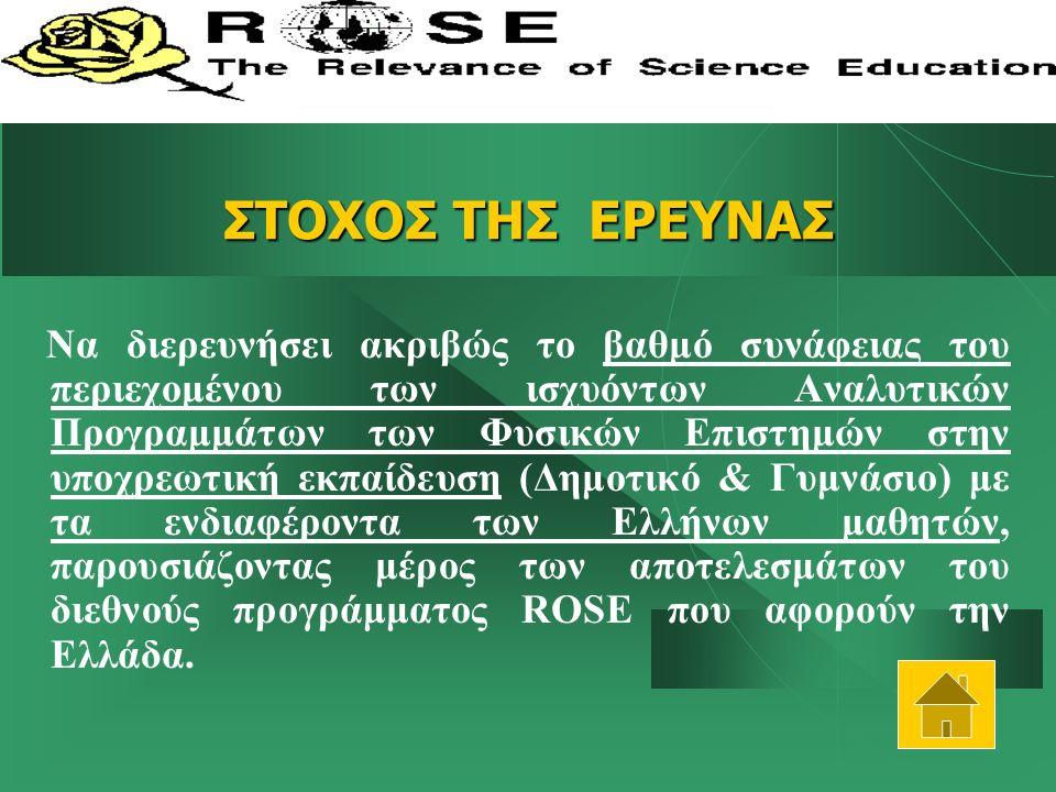 ΣΤΟΧΟΣ ΤΗΣ ΕΡΕΥΝΑΣ Να διερευνήσει ακριβώς το βαθμό συνάφειας του περιεχομένου των ισχυόντων Αναλυτικών Προγραμμάτων των Φυσικών Επιστημών στην υποχρεωτική εκπαίδευση (Δημοτικό & Γυμνάσιο) με τα ενδιαφέροντα των Ελλήνων μαθητών, παρουσιάζοντας μέρος των αποτελεσμάτων του διεθνούς προγράμματος ROSE που αφορούν την Ελλάδα.