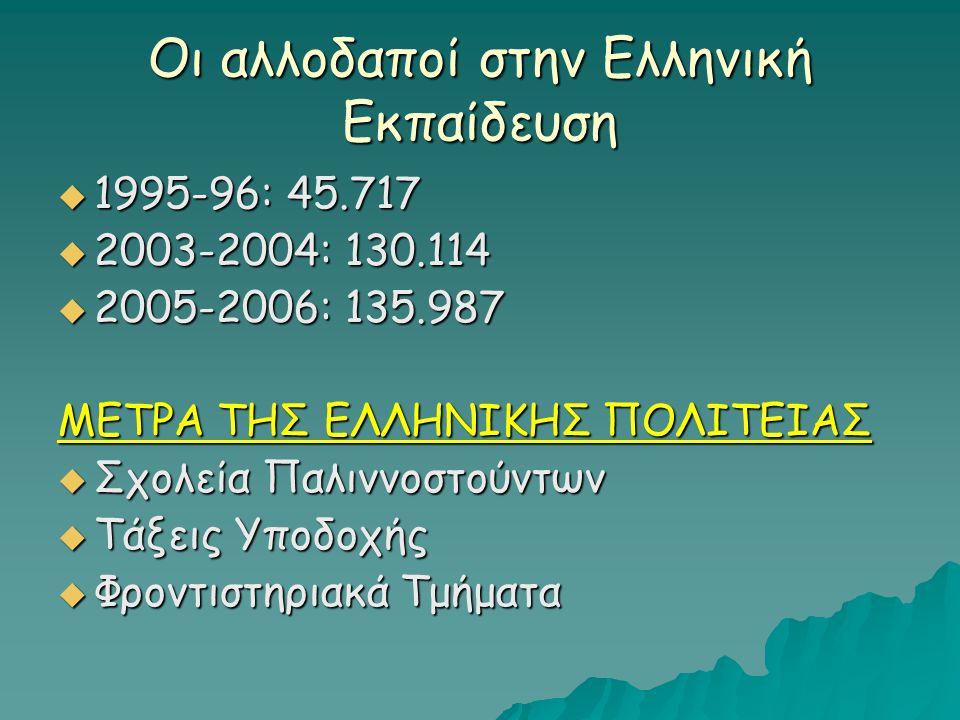 Οι αλλοδαποί στην Ελληνική Εκπαίδευση  1995-96: 45.717  2003-2004: 130.114  2005-2006: 135.987 ΜΕΤΡΑ ΤΗΣ ΕΛΛΗΝΙΚΗΣ ΠΟΛΙΤΕΙΑΣ  Σχολεία Παλιννοστούν