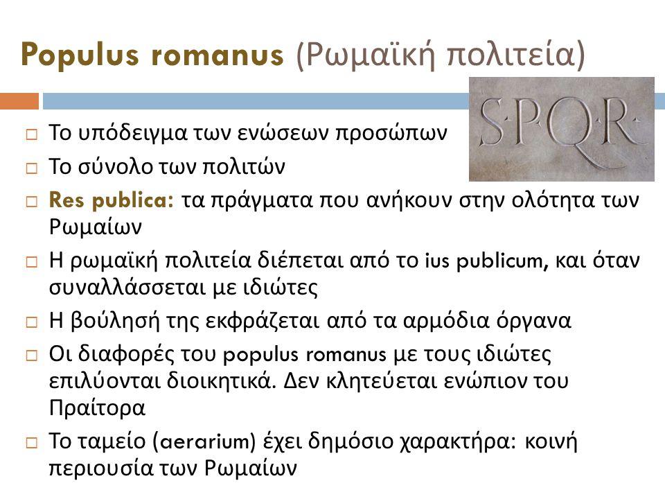 Populus romanus ( Ρωμαϊκή πολιτεία )  Το υπόδειγμα των ενώσεων προσώπων  Το σύνολο των πολιτών  Res publica: τα πράγματα που ανήκουν στην ολότητα των Ρωμαίων  Η ρωμαϊκή πολιτεία διέπεται από το ius publicum, και όταν συναλλάσσεται με ιδιώτες  Η βούλησή της εκφράζεται από τα αρμόδια όργανα  Οι διαφορές του populus romanus με τους ιδιώτες επιλύονται διοικητικά.