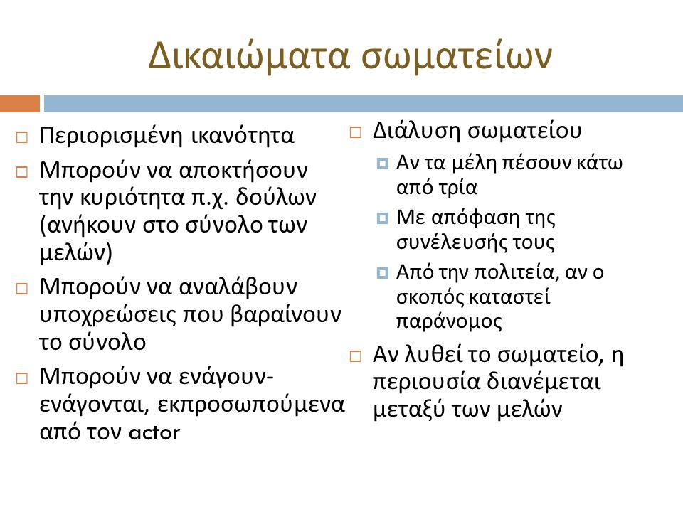 Δικαιώματα σωματείων  Περιορισμένη ικανότητα  Μπορούν να αποκτήσουν την κυριότητα π. χ. δούλων ( ανήκουν στο σύνολο των μελών )  Μπορούν να αναλάβο