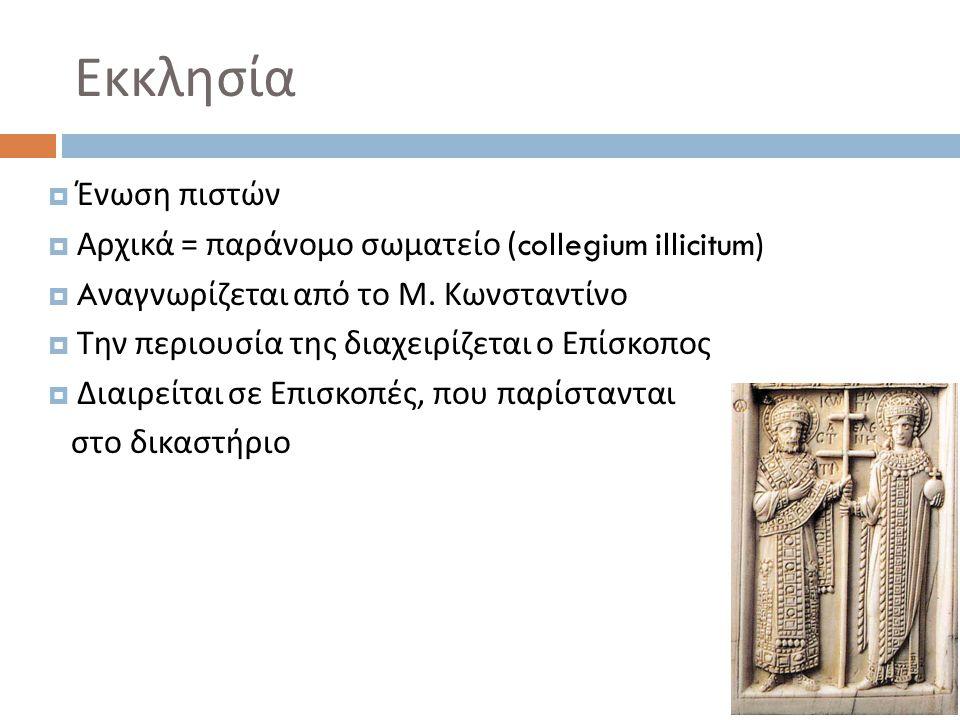Εκκλησία  Ένωση πιστών  Αρχικά = παράνομο σωματείο (collegium illicitum)  A ναγνωρίζεται από το Μ. Κωνσταντίνο  Την περιουσία της διαχειρίζεται ο