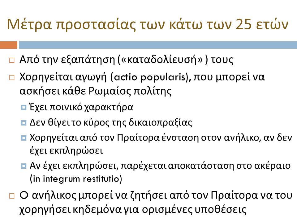  Από την εξαπάτηση (« καταδολίευσή » ) τους  Χορηγείται αγωγή (actio popularis), που μπορεί να ασκήσει κάθε Ρωμαίος πολίτης  Έχει ποινικό χαρακτήρα