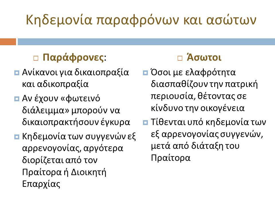 Κηδεμονία παραφρόνων και ασώτων  Παράφρονες :  Ανίκανοι για δικαιοπραξία και αδικοπραξία  Αν έχουν « φωτεινό διάλειμμα » μπορούν να δικαιοπρακτήσουν έγκυρα  Κηδεμονία των συγγενών εξ αρρενογονίας, αργότερα διορίζεται από τον Πραίτορα ή Διοικητή Επαρχίας  Άσωτοι  Όσοι με ελαφρότητα διασπαθίζουν την πατρική περιουσία, θέτοντας σε κίνδυνο την οικογένεια  Τίθενται υπό κηδεμονία των εξ αρρενογονίας συγγενών, μετά από διάταξη του Πραίτορα