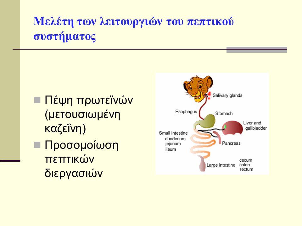 Μελέτη των λειτουργιών του πεπτικού συστήματος Πέψη πρωτεϊνών (μετουσιωμένη καζεΐνη) Προσομοίωση πεπτικών διεργασιών