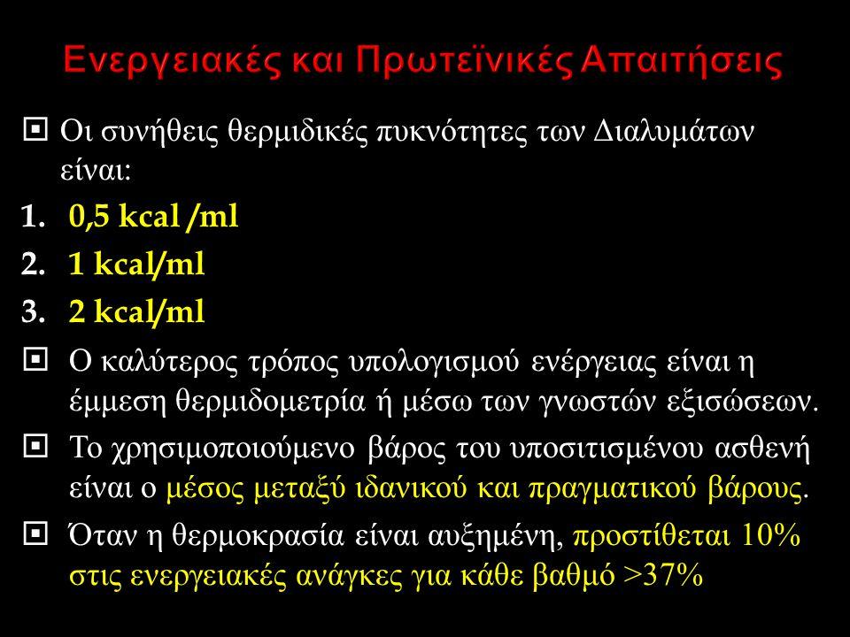  Οι συνήθεις θερμιδικές πυκνότητες των Διαλυμάτων είναι : 1.0,5 kcal /ml 2.1 kcal/ml 3.2 kcal/ml  Ο καλύτερος τρόπος υπολογισμού ενέργειας είναι η έ