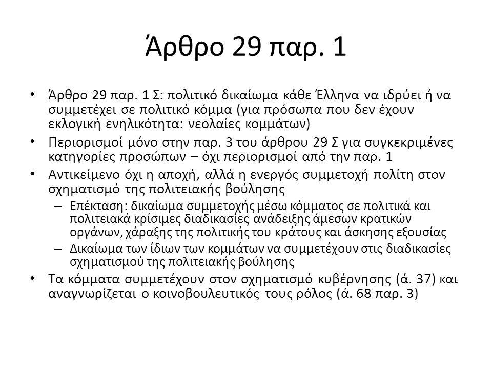 Άρθρο 29 παρ.1 Άρθρο 29 παρ.