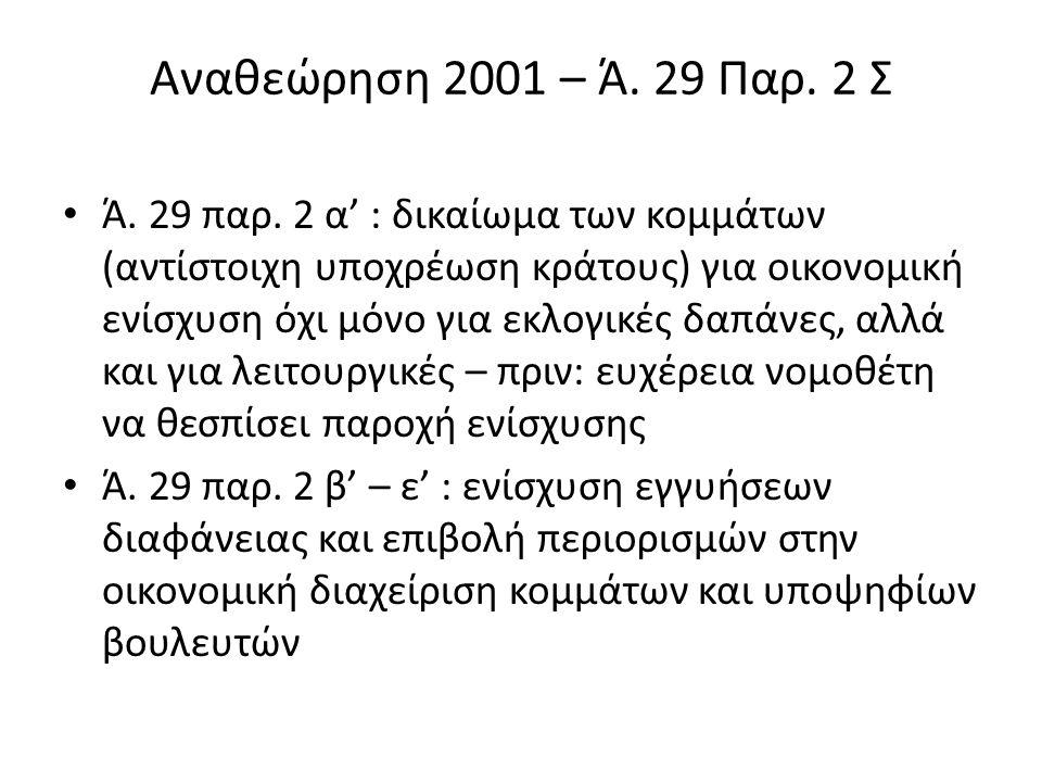 Αναθεώρηση 2001 – Ά.29 Παρ. 2 Σ Ά. 29 παρ.