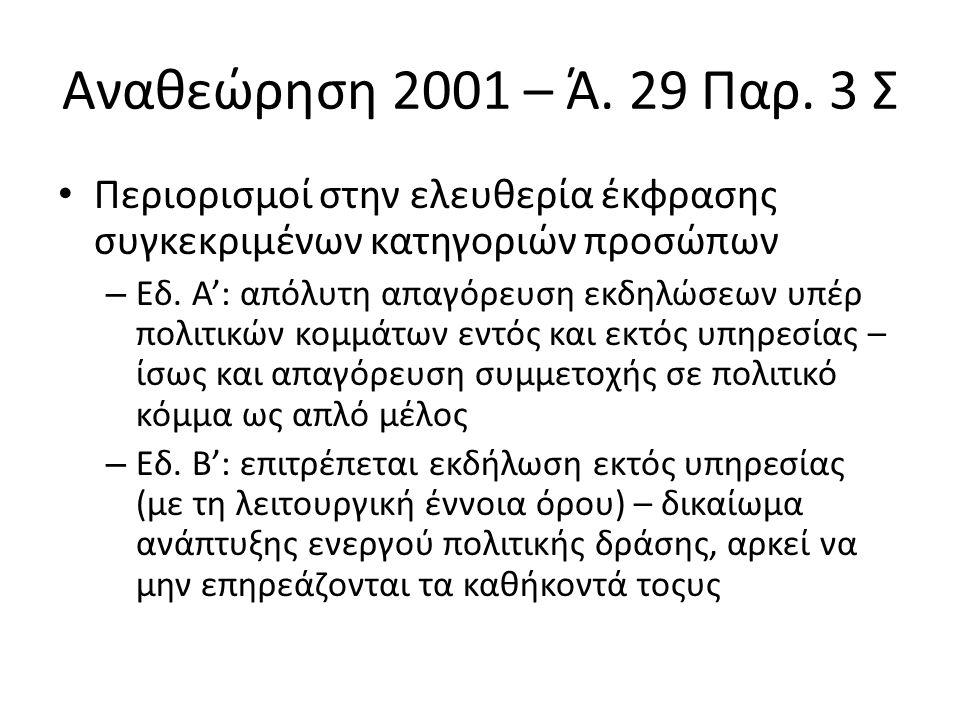 Αναθεώρηση 2001 – Ά.29 Παρ.